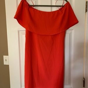 NWT Charles Henry Coral Off the Shoulder Dress